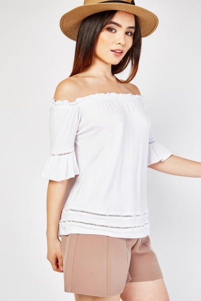Crochet Trim Off Shoulder Top