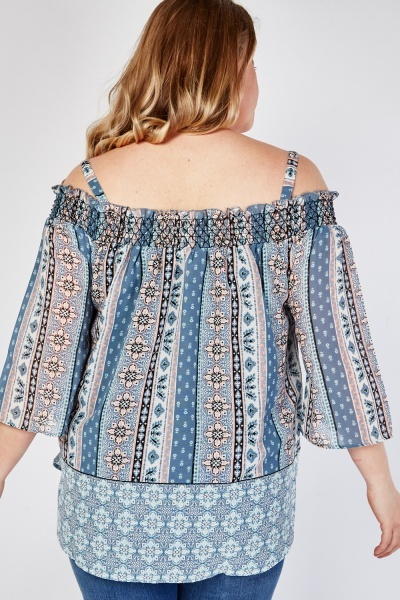 Ethnic Print Off Shoulder Blouse