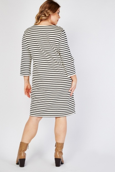 Striped Lace Up Front Dress