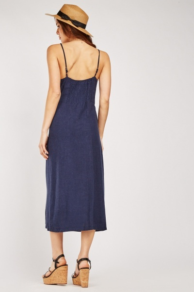 Button Front Strappy Dress