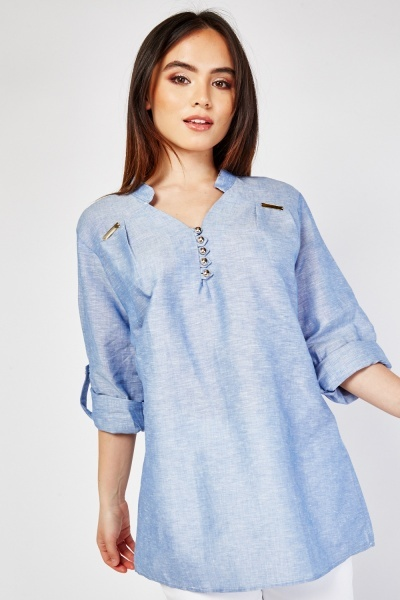 Button Front Textured Tunic Top