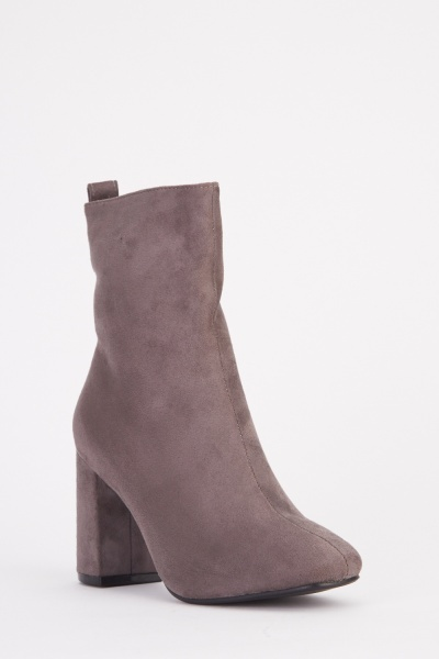 Crushed Velveteen Ankle Boots