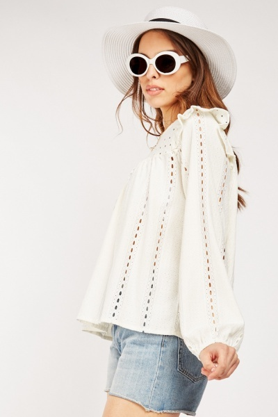 Frilly Trim Broderie Anglaise Top