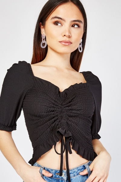 Gathered Tie Up Front Crop Top