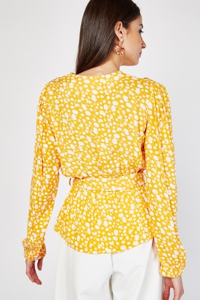 O-Ring Belted Flower Print Top