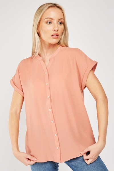 Textured Buttoned Up Top