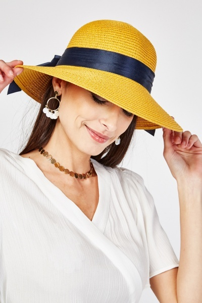 Bow Ribbon Trim Straw Hat