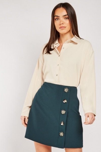 Button Trim Mini Skirt