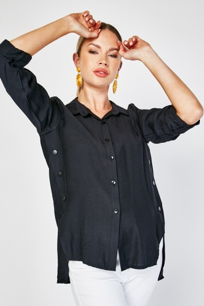Button Trim Roll Up Sleeve Top