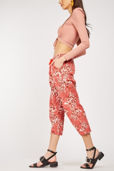 Floral Print Drawstring Crop Trousers