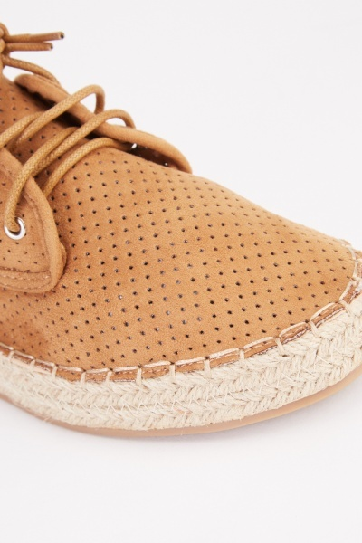 Perforated Lace Up Espadrille Shoes