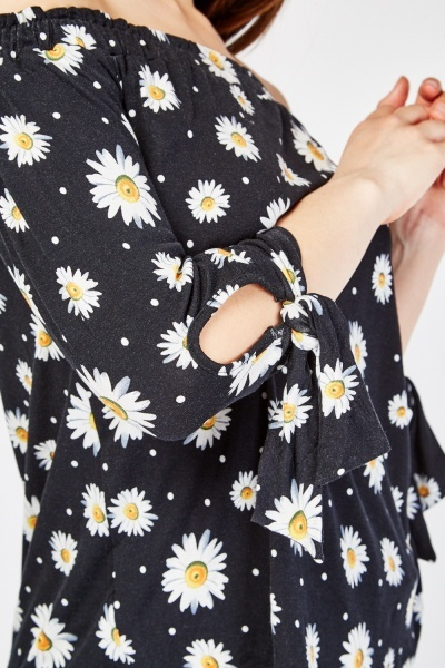 Daisy Flower Print Top