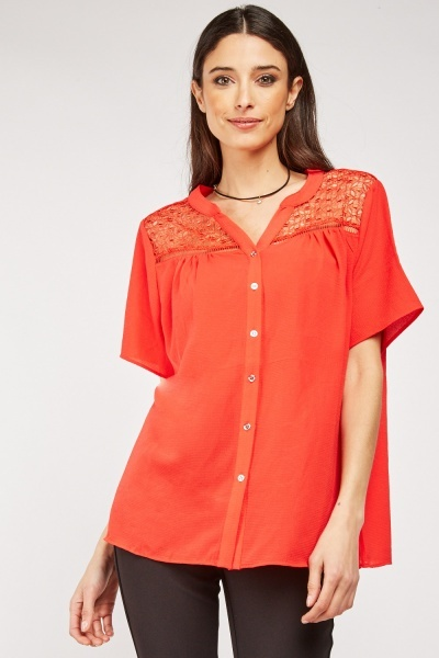 Embroidered Panel Insert Button Up Blouse