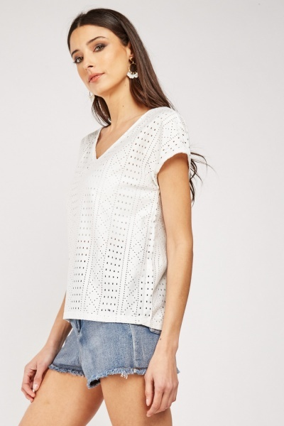 Perforated Short Sleeve Top