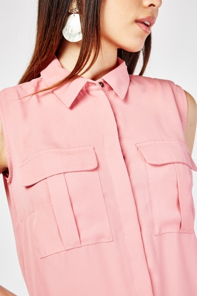 Pocket Flap Front Sleeveless Top