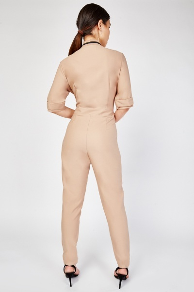 Ribbed Neck Trim Jumpsuit