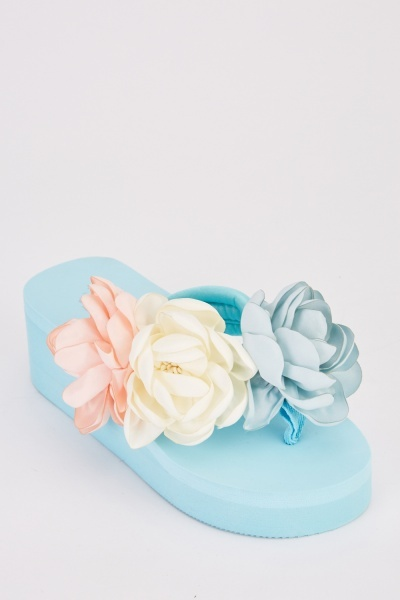 3D Rose Wedge Sandals