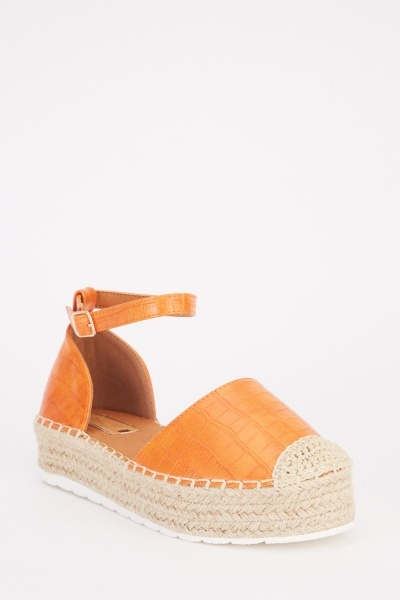 Ankle Strap Textured Espadrilles