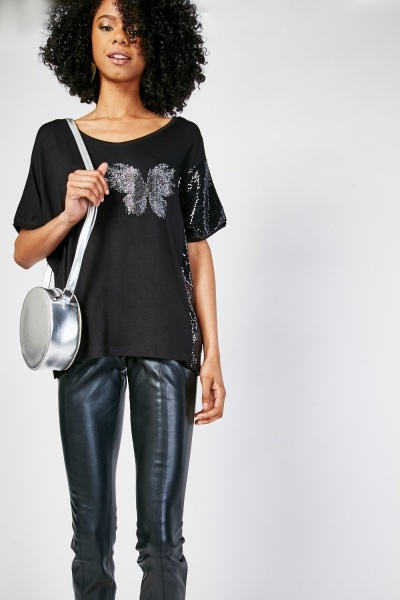 Encrusted Butterfly Short Sleeve Top