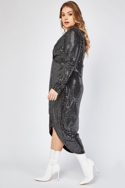 Metallic Mirrored Trim Wrap Dress