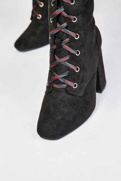 Suedette Lace Up Front Heeled Boots
