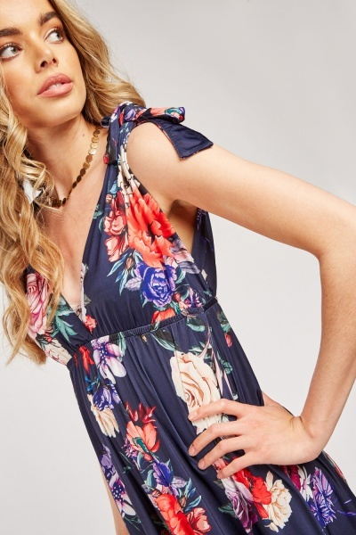 Tie Up Sleeve Floral Maxi Dress