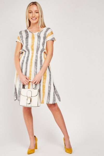 Vertical Striped Mini Dress