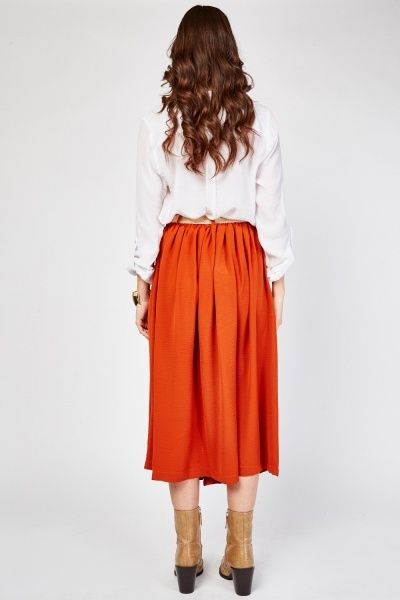 Belted Front Pocket Midi Skirt