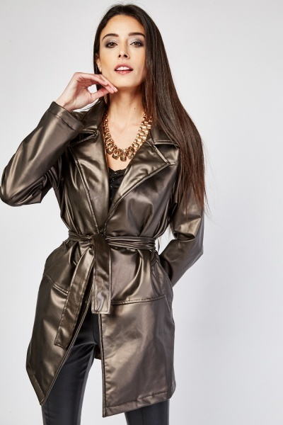 Lapel Front Faux Leather Jacket