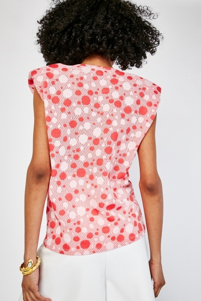 Padded Shoulder Circle Pattern Top