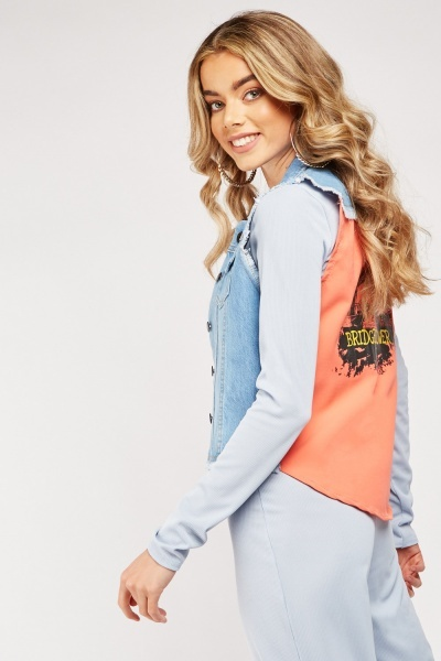 Raw Edge Printed Back Denim Gilet