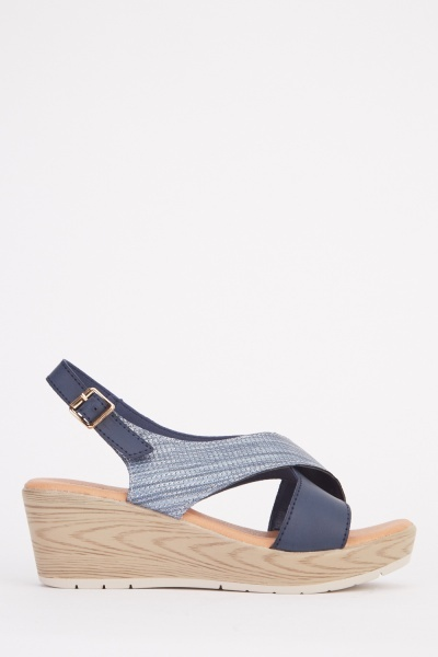 Contrasted Criss Cross Strap Sandals