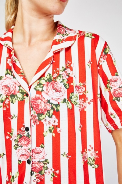Flower Print Striped Pyjama Set