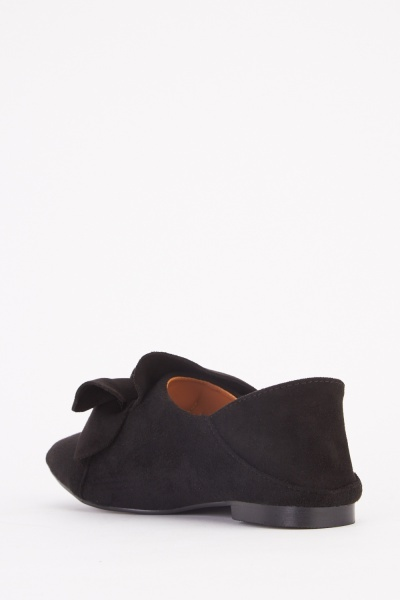 Suedette Front Bow Loafers