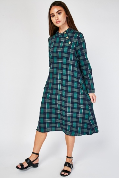 Midi Plaid Tunic Dress