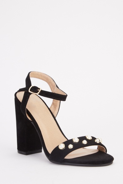 Pearl Detail Heeled Sandals