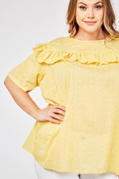 Perforated Frill Trim Cotton Blouse