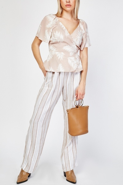 Striped Straight Cut Trousers