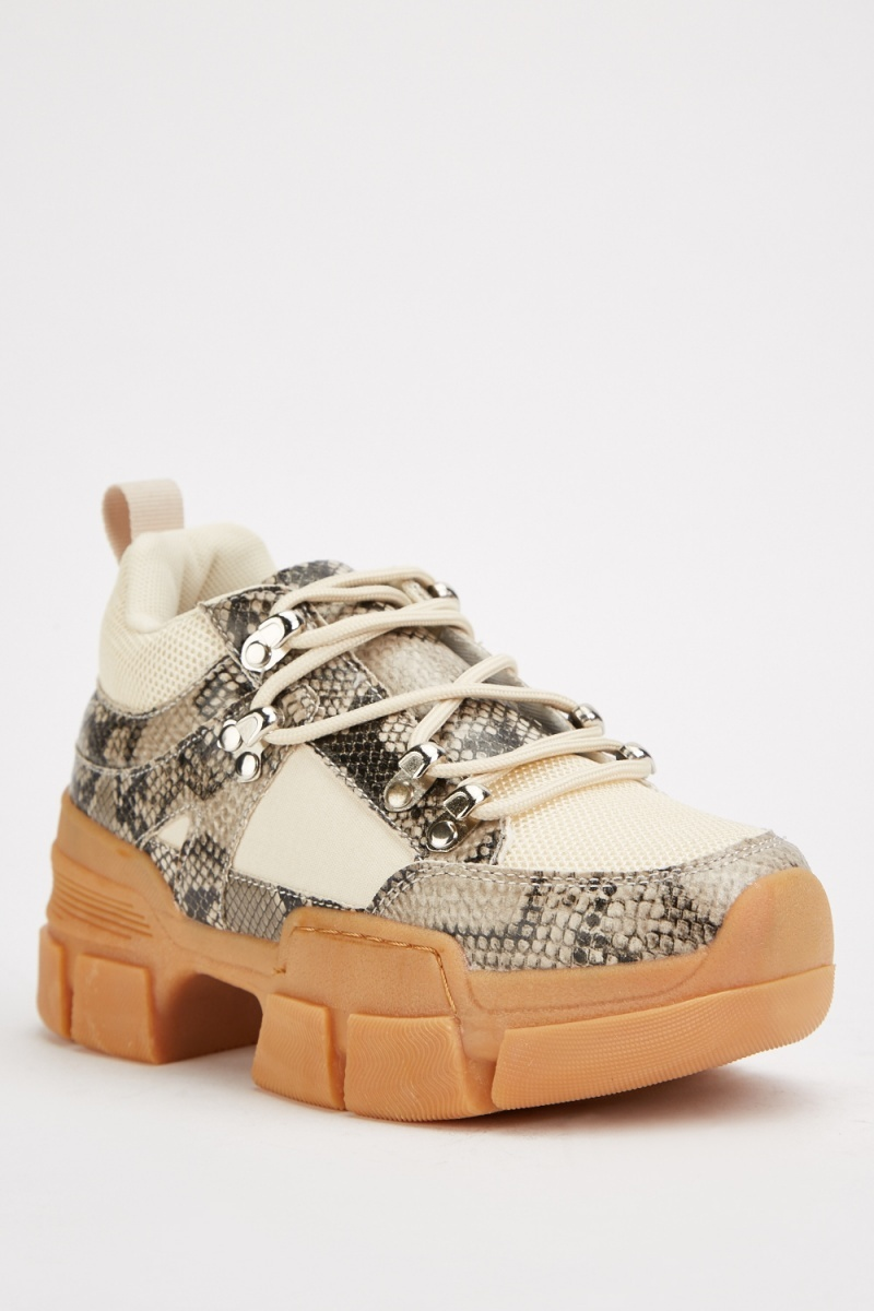 Snake Print Chunky Trainers - Just $6