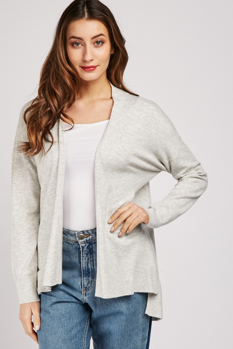 Ribbed Panel Slouchy Cardigan