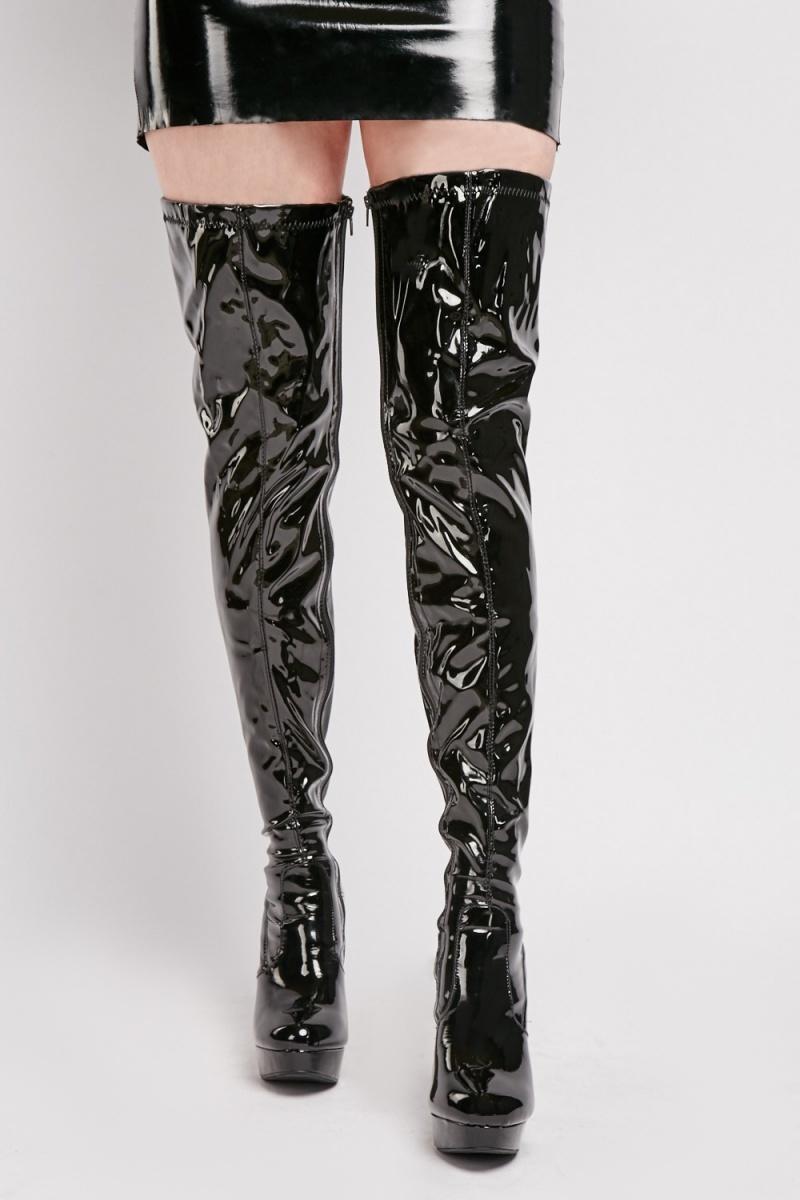 Black Vinyl Thigh High Boots - Just $6