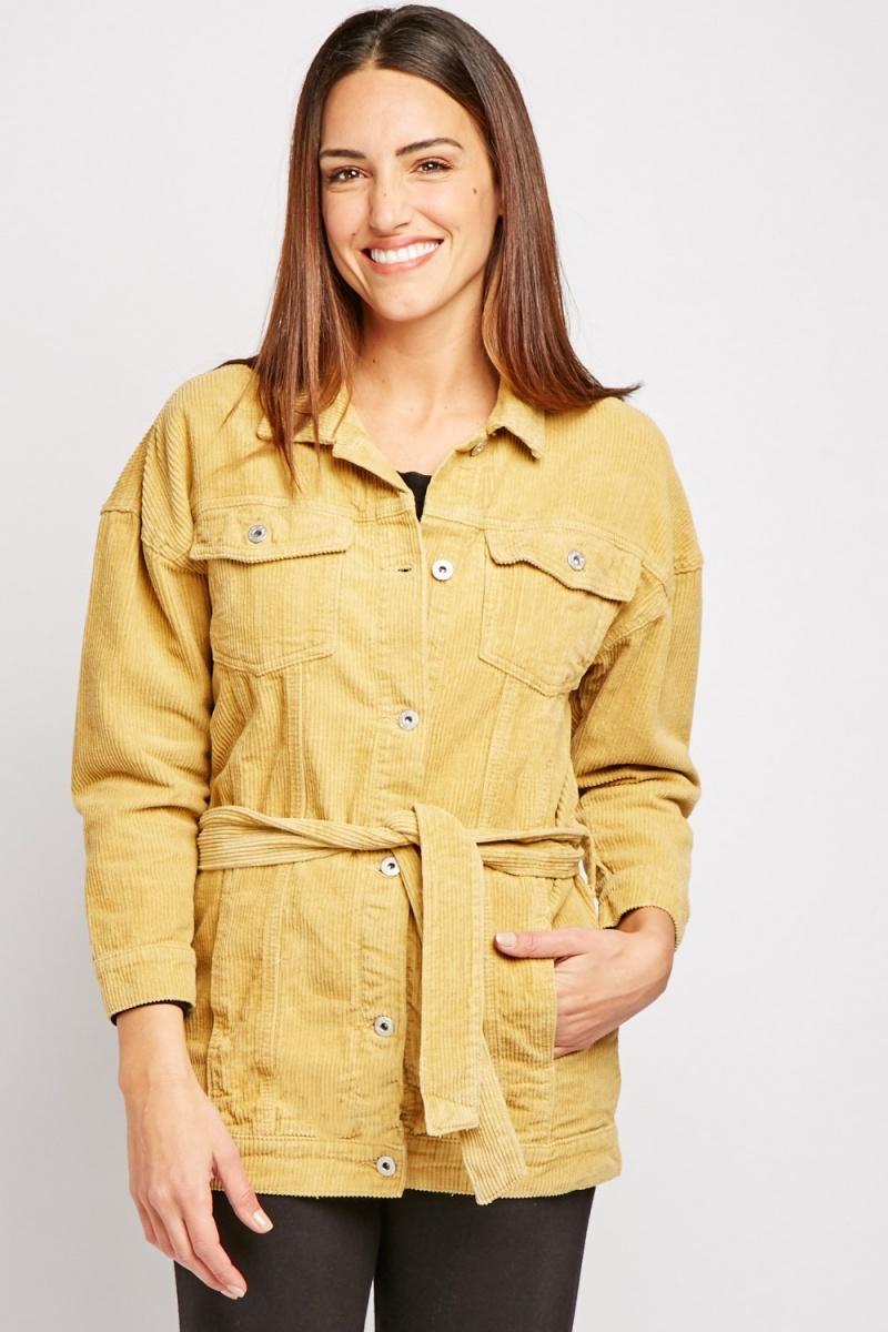 Belted Corduroy Mustard Jacket