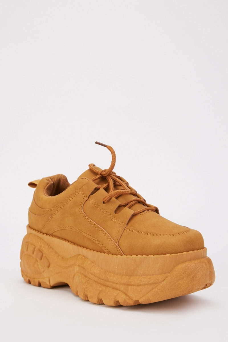 Camel Lace Up Chunky Trainers - Just $6