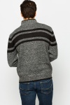 Zip Neck Stripe Panel Jumper