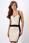 Pleated Two Tone Bodycon Dress