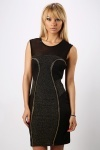 Metallic Panel & Mesh Bodycon Dress