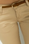 Belted Beige Crop Trousers