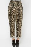 Velveteen Leopard Print Casual Trousers