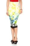 Floral Pattern Midi Pencil Skirt