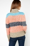 Roll Neck Colour Block Stripe Pullover